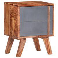 vidaXL Noční stolek šedý 40 x 30 x 50 cm masivní sheeshamové dřevo