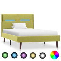 vidaXL Rám postele s LED světlem zelený textil 90 x 200 cm