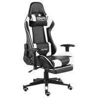vidaXL Otočná herní židle s podnožkou bílá PVC