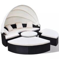 vidaXL Zahradní postel polyratan černá
