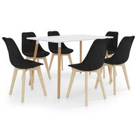vidaXL 7 Piece Dining Set Black (287242+3x289162)