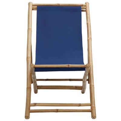 vidaXL Kempingová židle bambus a plátno námořnická modrá