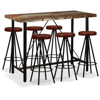vidaXL Barový set 7 kusů masivní recyklované dřevo a pravá kůže