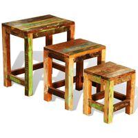 vidaXL Sada hnízdových stolků 3 kusy vintage recyklované dřevo