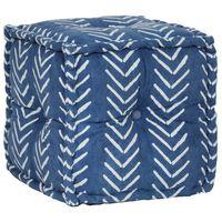 vidaXL Sedací puf kostka bavlna vzor ručně vyrobený 40x40 cm indigový