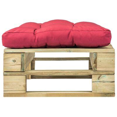 vidaXL Zahradní taburet z palet s červenou poduškou zelené dřevo
