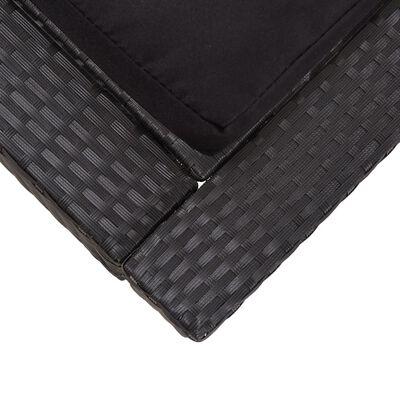 vidaXL 2místné zahradní lehátko s poduškou černé polyratan, Černý