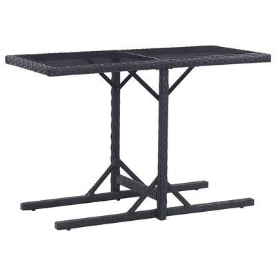 vidaXL Zahradní stůl černý 110 x 53 x 72 cm sklo a polyratan