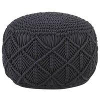 vidaXL Ručně vyrobený sedací puf macramé antracitový 45 x 30 cm bavlna