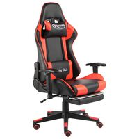 vidaXL Otočná herní židle s podnožkou červená PVC