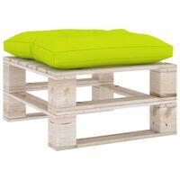 3066095 vidaXL Garden Pallet Ottoman with Bright Green Cushion Pinewood (315824+314633)