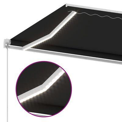 vidaXL Ručně zatahovací markýza s LED světlem 400 x 350 cm antracitová