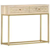 vidaXL Konzolový stolek zlatý 90 x 30 x 75 cm masivní mangovník