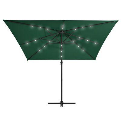 vidaXL Konzolový slunečník s LED světly ocelová tyč 250x250 cm zelený, Zelená