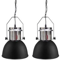 vidaXL Kovová stropní lampa 2 ks s nastavitelnou výškou moderní černá