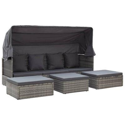 vidaXL Zahradní postel se střechou odstíny šedé 200x60x124cm polyratan