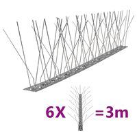 vidaXL 5řadové nerezové hroty proti ptákům a holubům sada 6 ks 3 m