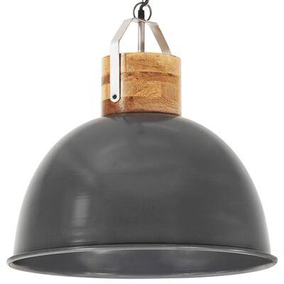 vidaXL Industriální závěsné svítidlo šedé kulaté 51 cm E27 mangovník