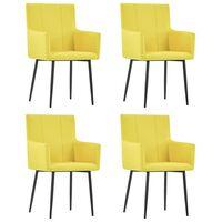 vidaXL Jídelní židle s područkami 4 ks žluté textil