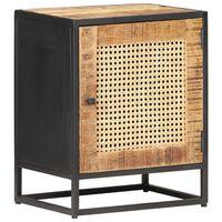 vidaXL Noční stolek 40 x 30 x 50 cm masivní mangovník a přírodní rákos