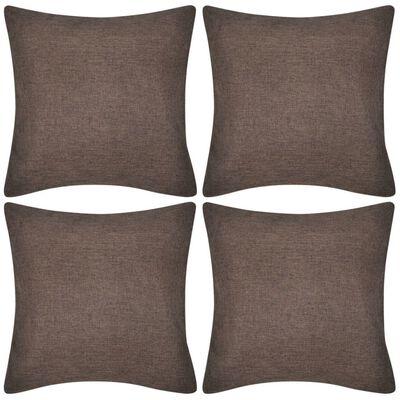 4 hnědé povlaky na polštářky, se vzhledem lnu 50 x 50 cm