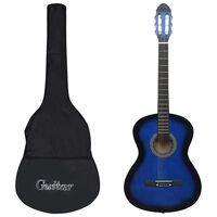 vidaXL 12dílný set klasická kytara pro začátečníky modrá 4/4 39''