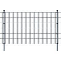 vidaXL 2D zahradní plotové dílce a sloupky 2008x1230 mm, 28 m, šedé