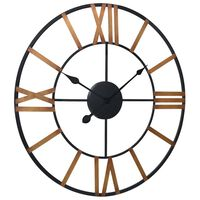 vidaXL Nástěnné hodiny zlatočerné 70 cm kov