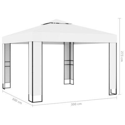 vidaXL Altán s dvojitou střechou 3 x 3 m bílý