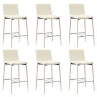 vidaXL Barové stoličky 6 ks krémové umělá kůže