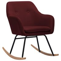 vidaXL Rocking Chair Wine Red Fabric