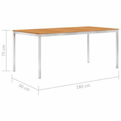 vidaXL Zahradní jídelní stůl 180x90x75 cm masivní akácie a nerez ocel