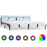 vidaXL Rám postele s LED světlem bílý umělá kůže 180 x 200 cm