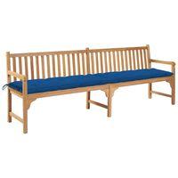 vidaXL Zahradní lavice s modrou poduškou 240 cm masivní teak