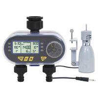vidaXL Digitální zavlažovací hodiny duální výstup s dešťovým senzorem