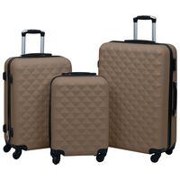 vidaXL Sada skořepinových kufrů na kolečkách 3 ks hnědá ABS