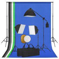 vidaXL Foto studio set se světly, fotopozadím a odraznou deskou