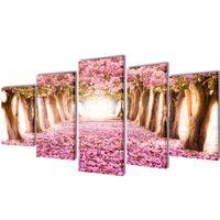 Sada obrazů, tisk na plátně, třešňový květ, 200 x 100 cm