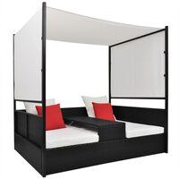 vidaXL Zahradní postel s baldachýnem černá 190 x 130 cm polyratan