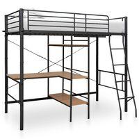 vidaXL Rám poschoďové postele se stolem šedý kov 90 x 200 cm