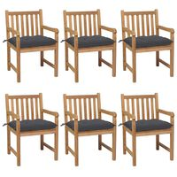 vidaXL Garden Chairs 6 pcs with Anthracite Cushions Solid Teak Wood (3x43250+314898)