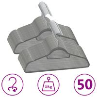 vidaXL 50 ks šatních ramínek protiskluzové šedé samet