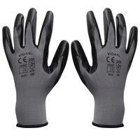 vidaXL Pracovní rukavice nitrilové 24 párů, šedo-černé, vel. 8/M