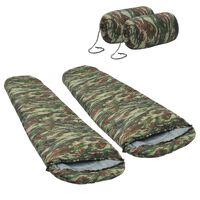 vidaXL Lehké spací pytle 2 ks maskáčové 15 °C 850 g