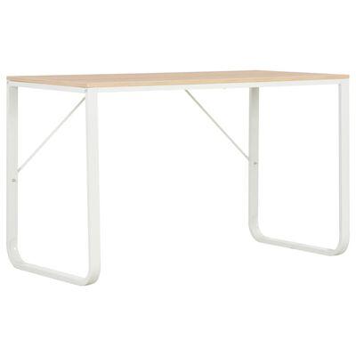 vidaXL PC stůl bílý a dubový odstín 120 x 60 x 73 cm