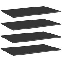 vidaXL Přídavné police 4 ks černé vysoký lesk 80x50x1,5 cm dřevotříska