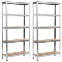 vidaXL Skladové regály 2 ks stříbrné 90 x 30 x 180 cm ocel a MDF