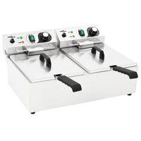 vidaXL Dvojitá elektrická fritéza nerezová ocel 20 l 6 000 W