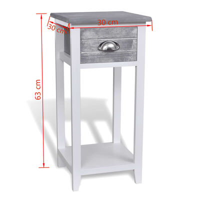 vidaXL Noční stolek s 1 zásuvkou šedobílý