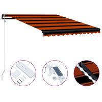vidaXL Zatahovací markýza senzor větru a LED 350x250 cm oranžovo-hnědá